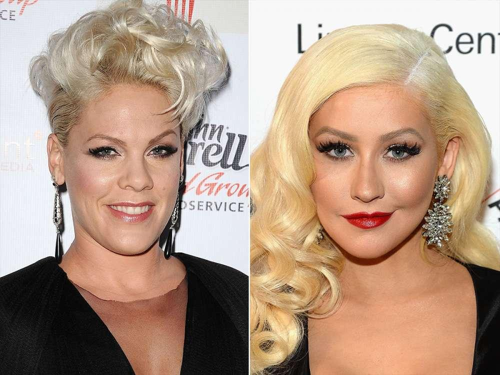 Christina Aguilera Says She Didn't Try And Punch Fellow Singer Pink - But She Did Try And Kiss Her!
