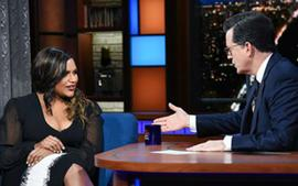 Mindy Kaling Hilariously Mocks Stephen Colbert After His Apple Watch Cuts Her Off In New Late Show Video