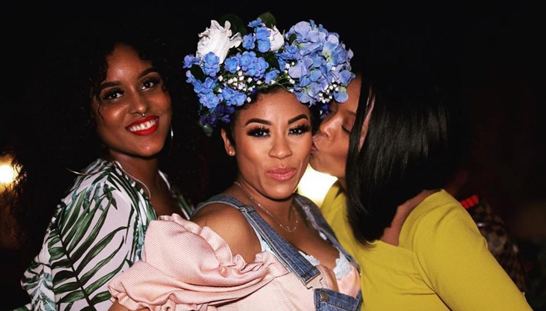 Keyshia Cole Looks Stunning In Baby Shower Photo Wearing Sheer White Gown With Boyfriend Niko Khalé And Mother Francine 'Frankie' Lons By Her Side