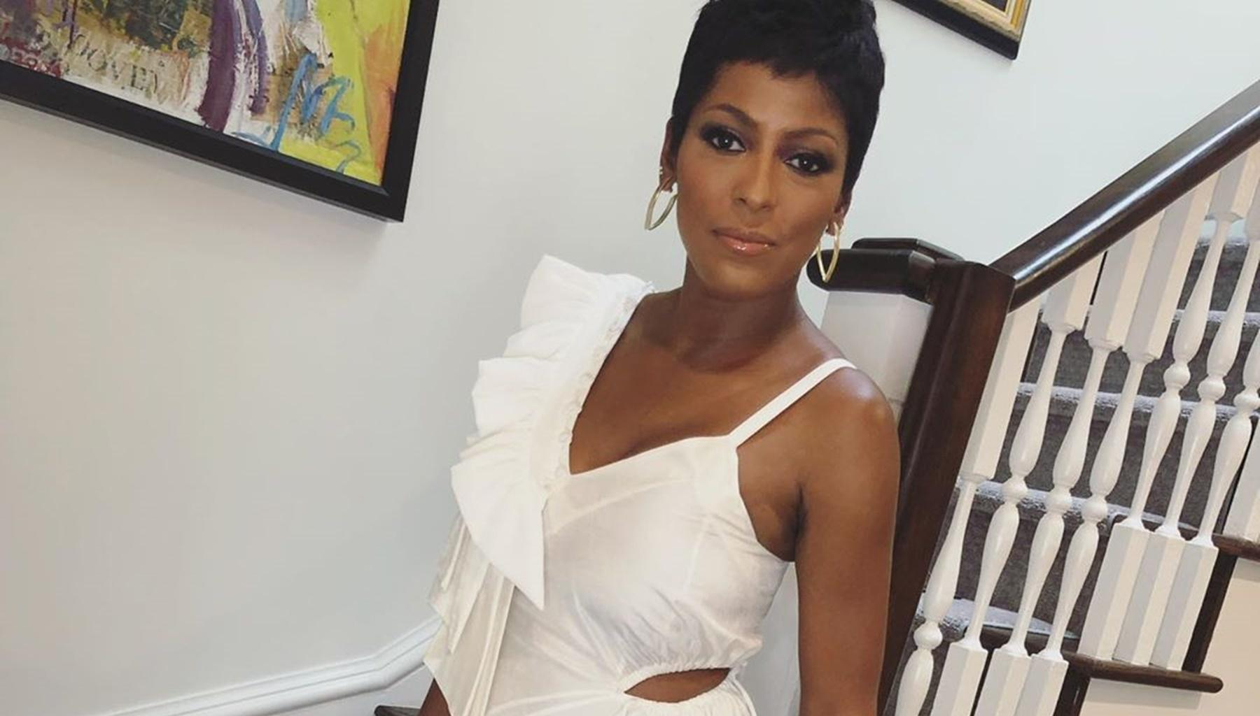 Tamron Hall Shows Off Gorgeous Tattoo In Floral Bathing Suit Pictures While Chilling In The Pool With Baby Moses And Husband Steven Greener
