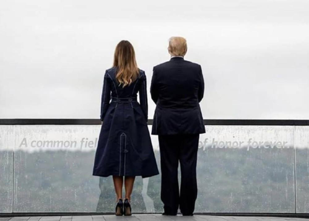 Melania Trump Wears Coat Dress With Stitching That Resembles Twin Towers And Plane Moment Of Impact At 911 Memorial And Internet Is Furious