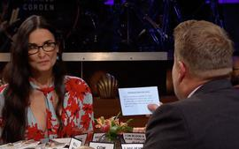 Demi Moore Plays Spill Your Guts or Fill Your Guts With James Corden Reveals Her Worst Film And Takes Aim At Bruce Willis
