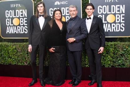 Pierce Brosnan Makes It A Family Affair At Golden Globes Red Carpet As Paris And Dylan Are Ambassadors