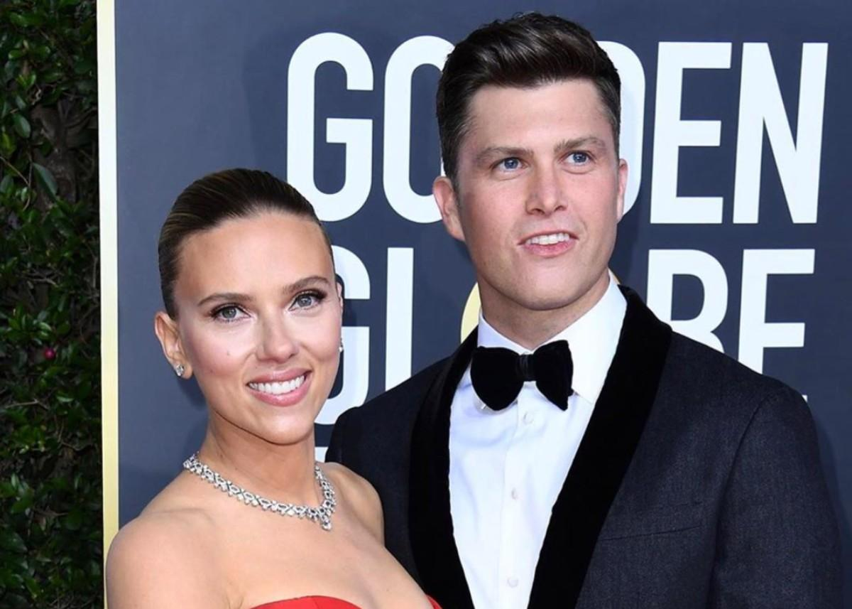 Scarlett Johansson Wore Vera Wang To Golden Globes As She And Fiance Colin Jost Walk The Red Carpet