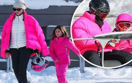 Sofia Richie And Scott Disick's Daughter Penelope Twin In Pink Ski Gear!