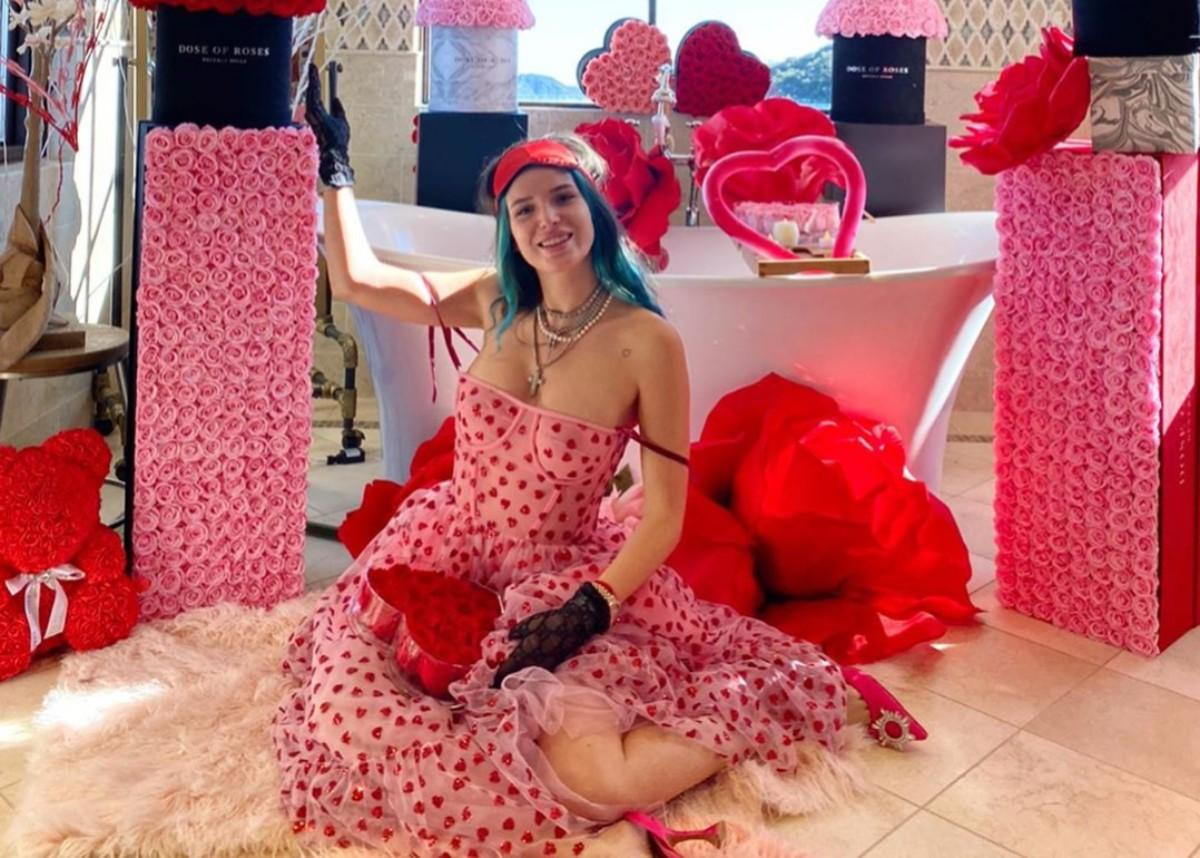 Bella Thorne Is Gorgeous In Lirika Matoshi's Hearty Dress As Benjamin Mascolo Can't Give Her Enough Valentine's Day Roses