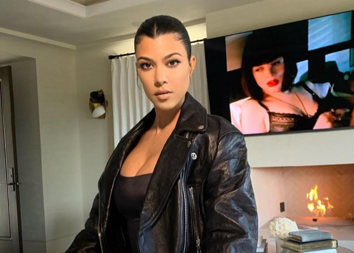 Kourtney Kardashian Sizzles In Red Lips, Curlers, And Skims