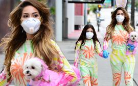Farrah Abraham And Daughter Sophia Go Out In Colorful Matching Outfits With Their Equally Colorful Purple Dog!