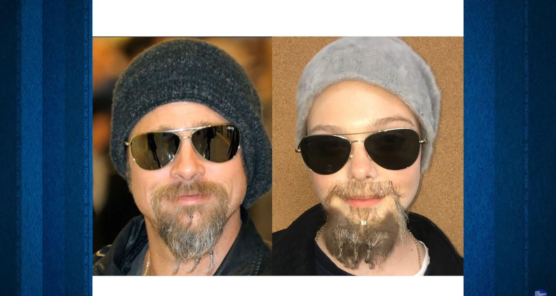 Elle Fanning Cosplays As Brad Pitt Back When He Rocked That Beaded Beard Look And The Resemblance Is Uncanny And Hilarious!