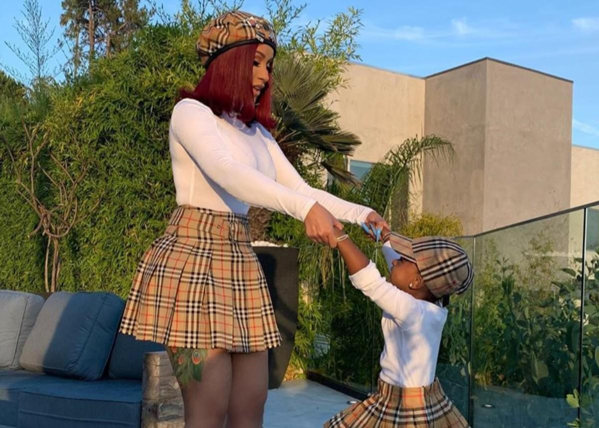 Cardi B And Nearly Two-Year-Old Daughter Kulture Are Twinning In Burberry Mini Skirts