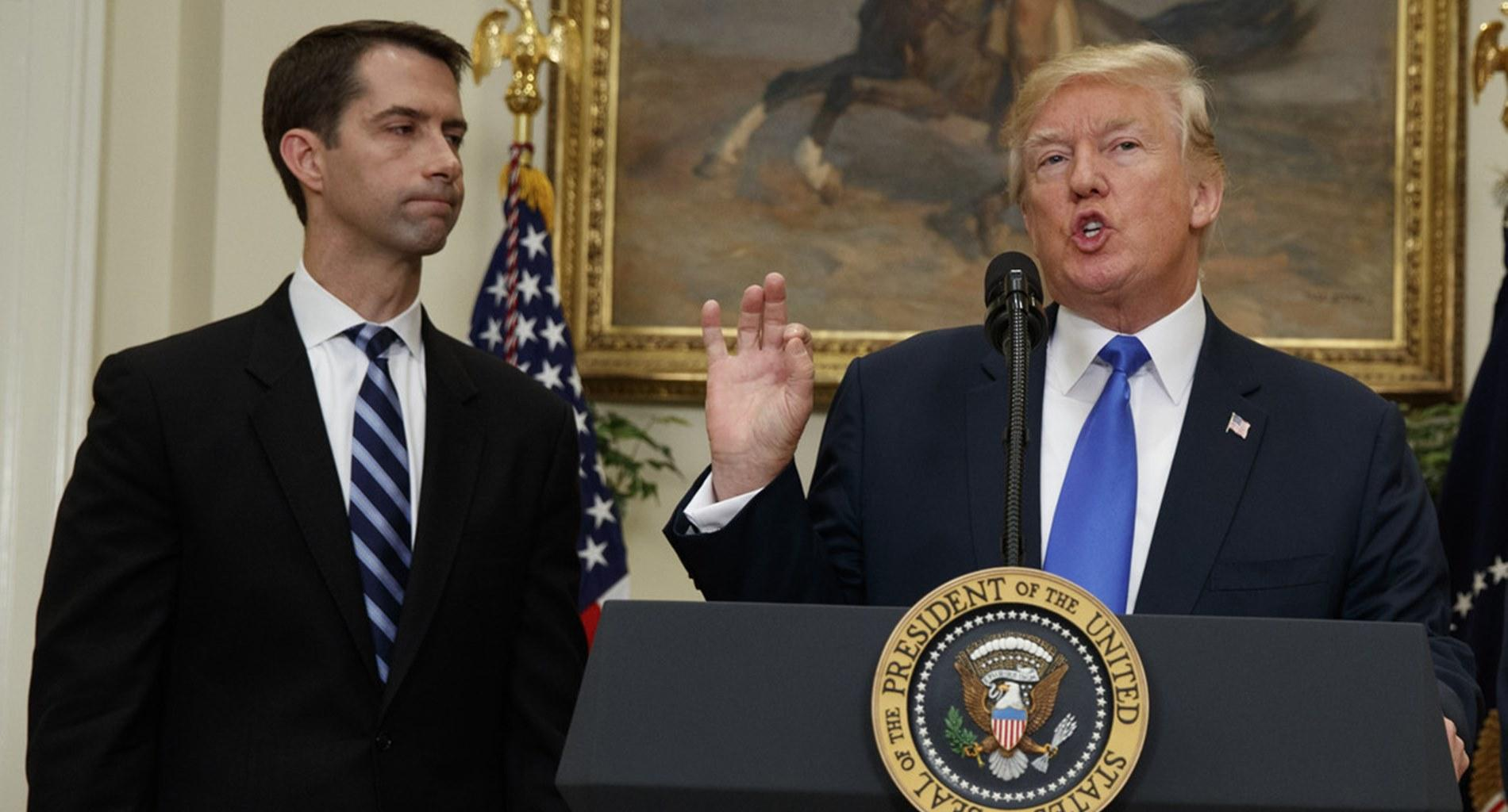"Tom Cotton, 'The New Donald Trump,' Says ""Slavery Was The Necessary Evil"" And Now Screams Fake News After Getting Bashed"