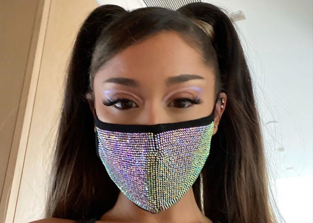 Ariana Grande Shows Off Her Figure In Skin-Tight Yoga Pants — Wears A Holographic Face Mask