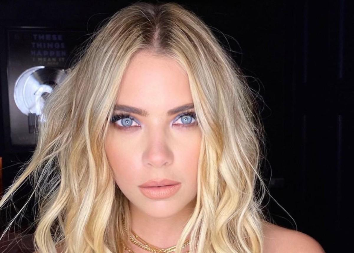 Ashley Benson Is A Blonde Bombshell In Cult Gaia While Layered In Gold Jewelry