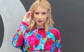Pregnant Emma Roberts Displays Her Baby Bump In Versace Mini Dress As She Teases Upcoming Project