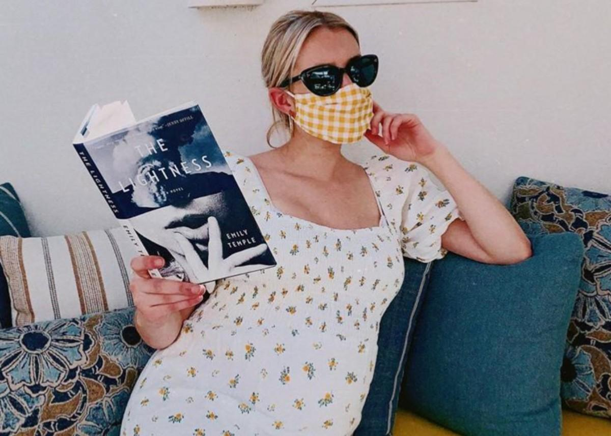 Emma Roberts Is Gorgeous In Faithfull The Brand Dress With A Classy Gingham Face Mask