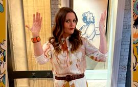 Drew Barrymore Wears Handpainted Geode-Print Skirt And Blouse — See The Look