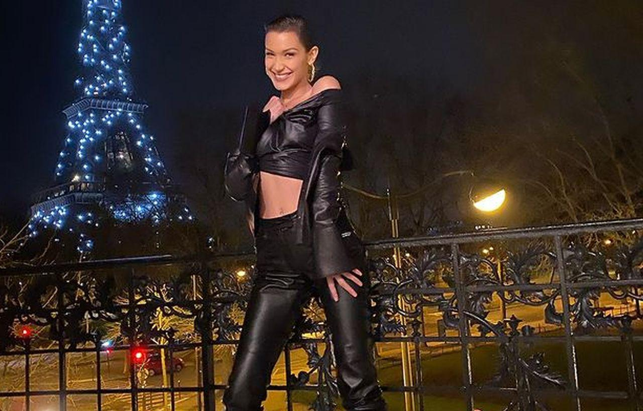 Bella Hadid Flaunts Her Curves In Black Leather Outfit
